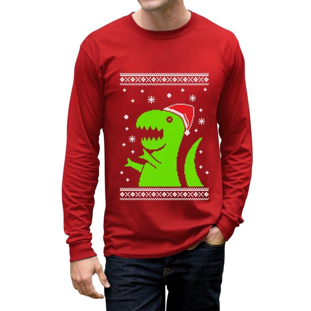 Big Green Trex Santa Ugly Christmas Sweater Funny Xmas Long Sleeve T-Shirt GM0aP3gC