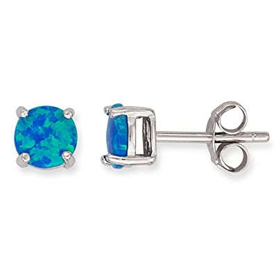 a26e324f9 Image Unavailable. Image not available for. Color: Sterling Silver 5mm  Created Blue Opal Stud Earrings