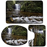 3 Piece Bath Mat Rug Set,Waterfall,Bathroom Non-Slip Floor Mat,Waterfalls-in-the-Mountain-in-North-Western-Lands-Calming-River-Scene,Pedestal Rug + Lid Toilet Cover + Bath Mat,Green-Brown-White