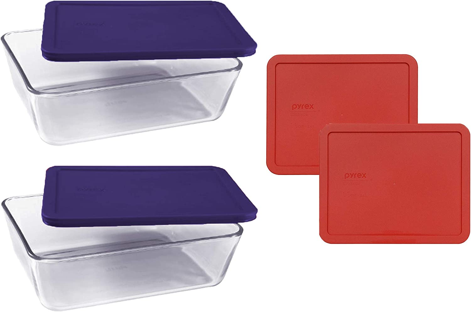 Pyrex Basics Clear Glass Food Storage Dishes, 2 (11-Cup) Oblong Dishes with Navy Blue and Red Plastic Lids