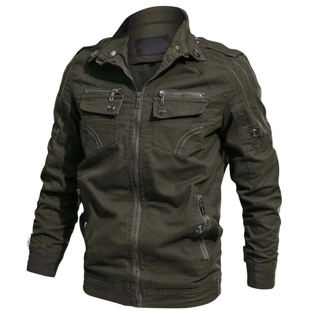 Men's Cotton Outdoor Military Jacket Casual Cargo Stand Collar Windbreaker Lightweight Jacket Army Green by SSYUNO-men tops