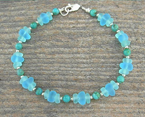 Frosted Sea Glass and Turquoise Anklet by Marcus Berkner Jewelry
