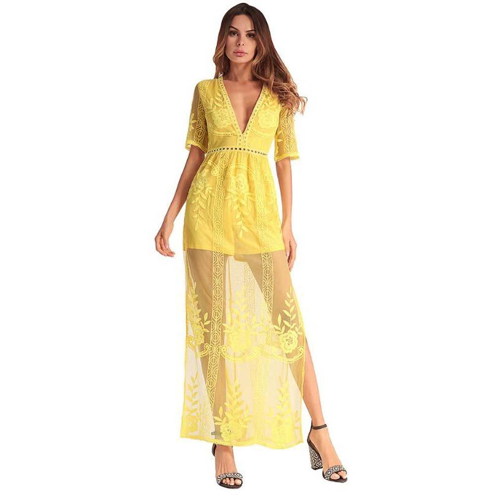 Jaune Onfly Femmes Deep V-Cou Manches Courtes Sexy Perspective Dentelle Maxi Dress Fashion Crochet Fleur Net Fil 2018 Printemps Nouvelle Robe de Bal EU Taille S-XXL L