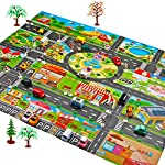 Rigel7 Large Kids Carpet Playmat Rug, City Life Play Mat for Playing with Car Toy, Game Area for Baby Toddler Kid Child Educational Learn Road Traffic, for Bedroom Play Room Game Safe Area