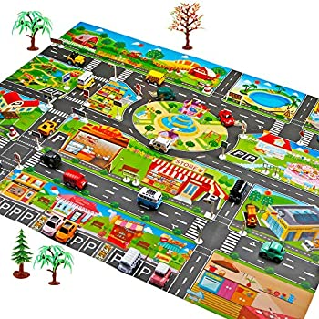 Amazon Com Joylive Kids Road Play Mat Children Rug Happy Town Car