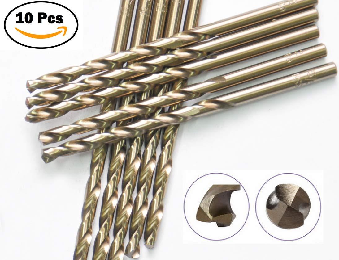10 Pcs Pack 1/8'' Inch M35 HSS Cobalt Drill Bit Jobber Length Drill Bits Twist Drill Bits 135 Deg. Split Point Drilling Steel, Meteal, Iron.