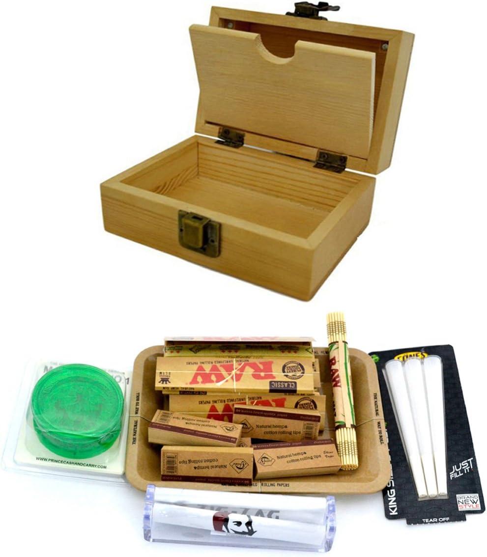 SHINE GRASSLEAF Caja DE Rodillos DE Madera con EL Regalo DE Bandeja Crudo Incluye Papeles/Consejos/Amoladora/Rolling Machine/Mat (Small Box, Small Tray)