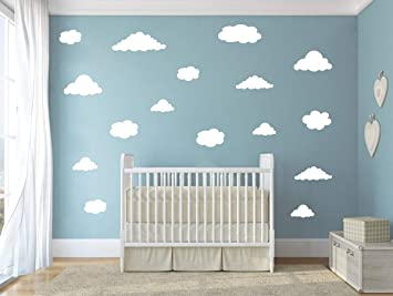Grey watercolor cloud wall decals Eco-Friendly wall decal for kids rooms and nurseries