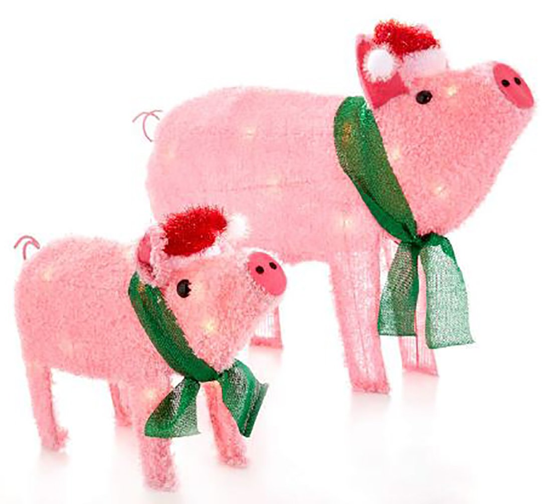 amazoncom light up holiday pigs statues 2 piece set garden outdoor