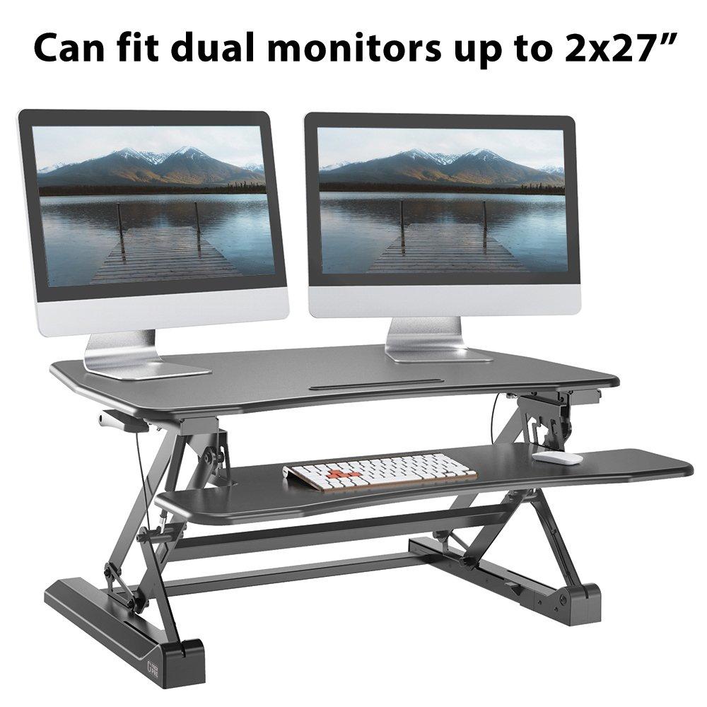 "G-PACK PRO -Desktop Standing Desk Converter - Ergonomic Desk Converter Riser Stand for Sit-To-Stand Work - Adjustable 35"" Standing Desk Monitor Riser - Fits Dual Monitor - Removable Keyboard Tray by G-Pack Pro (Image #7)"
