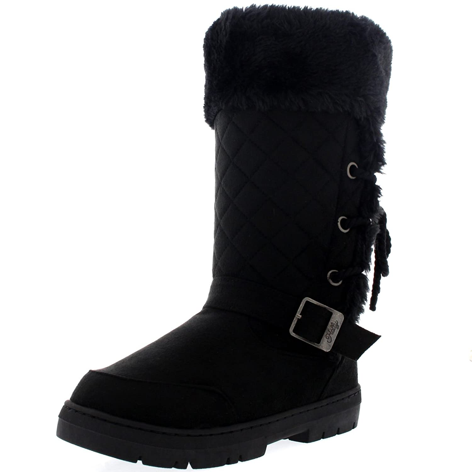 Womens Womens Rope Tie Back Tall Fur Lined Buckle Waterproof Winter Snow Rain Boots Clearance Sale Size 36