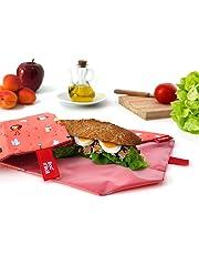 Roll'eat - Boc'n'Roll Kids - Bolsa Merienda Porta Bocadillos Infantil Ecológica y Reutilizable sin BPA | Funda Bocadillo con Cierre Fácil Ajustable, Unisex