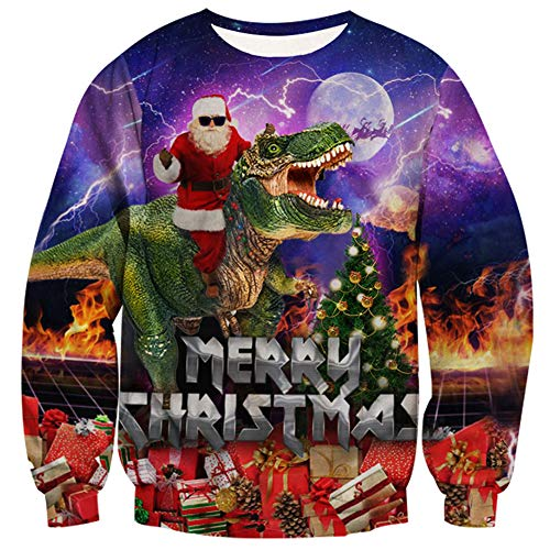 RAISEVERN Unisex Tyrannosaurus Rex Ugly Sweatshirt Merry Christmas Funny Crewneck Pullover Sweater for Xmas Party Purple (Flash Christmas Merry)