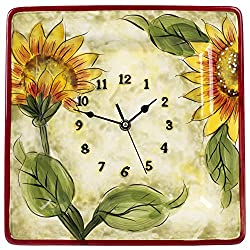 Original Cucina Italiana Ceramic Decorative Wall Clock Square 12 x 12 Inches Sunflower Print