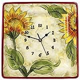 Original Cucina Italiana Ceramic Decorative Wall Clock Square 12 x 12 Inches Sunflower Print