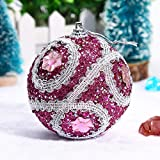 3.1 inch Christmas Tree Ball Decoration Christmas Rhinestone Glitter Baubles Balls Xmas Ornaments (Hot Pink, 80mm)