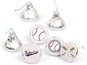 Batter Up - Baseball - Baby Shower or Birthday Party Round Candy Sticker Favors - Labels Fit Hershey's Kisses (1 Sheet of 108)