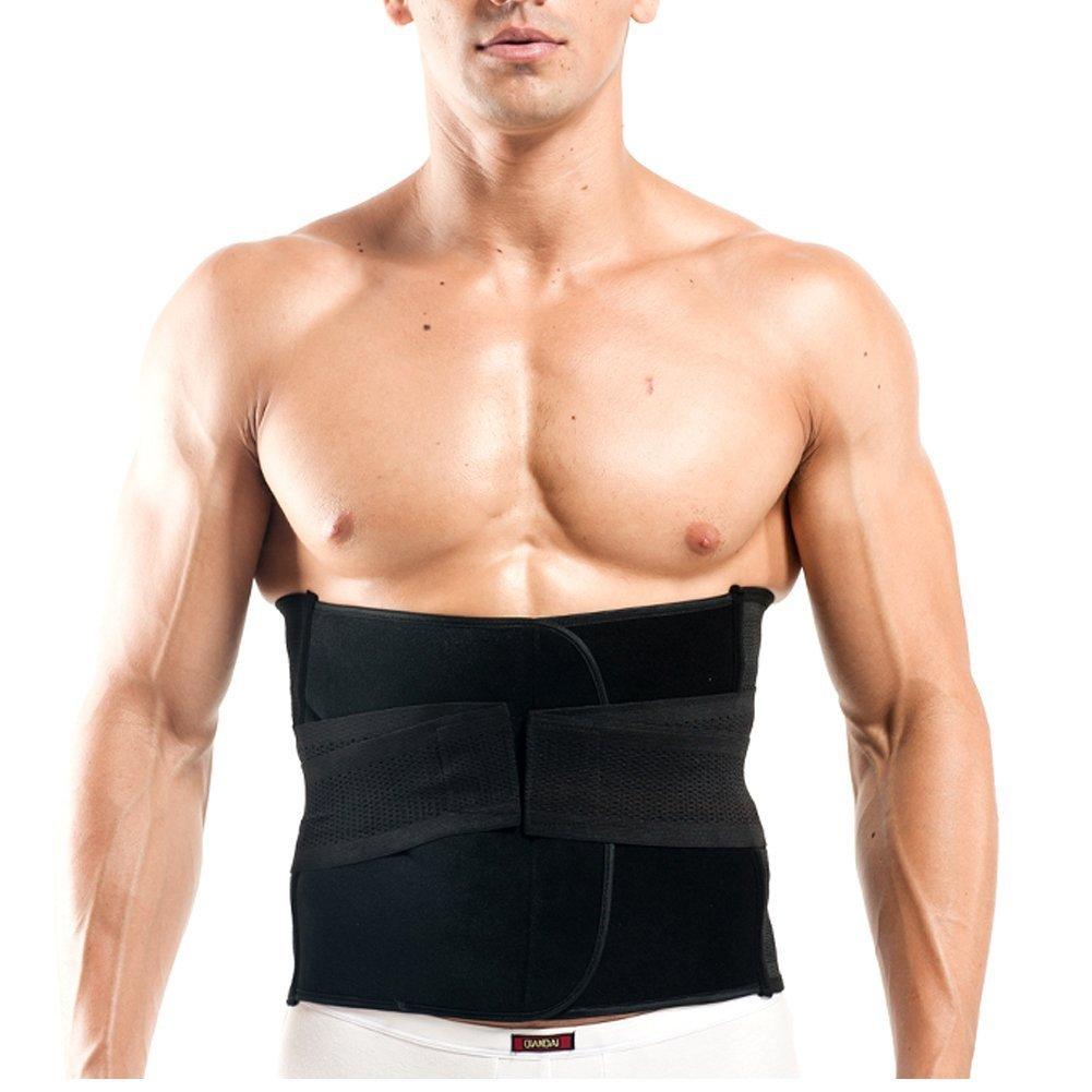 Men's Waist Trimmer Ab belt- Weight Loss- Abdominal Muscle & Back Supporter Stomach Wrap Slim Sweat Sport Belt Waist Trainer Black-XL