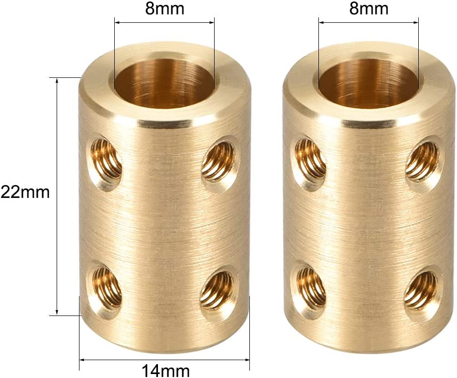 sourcing map Welle Kupplung Roboter Motor Rad Verbinder 8mm zu 8mm Bohrung L22xD14 Gold Ton