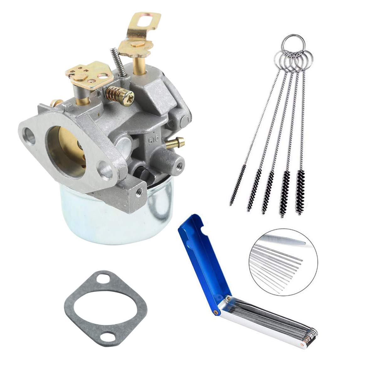 640084B Carburetor Compatible with Tecumseh HSK50 632107 640084 640084A 632107A Snow Blower HSK40 HS50 HSSK40 HS50 LH195SP with Gasket and Carbon Dirt Jet Cleaner