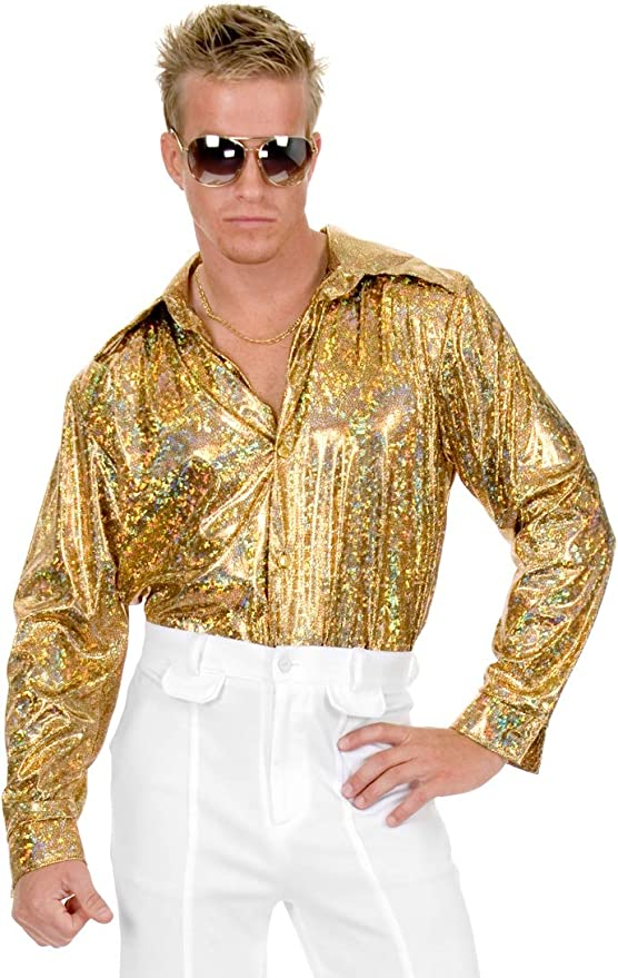 70s Costumes: Disco Costumes, Hippie Outfits Gold Glitter Hologram Disco Shirt Costume - X-Small - Chest Size 36 $21.40 AT vintagedancer.com