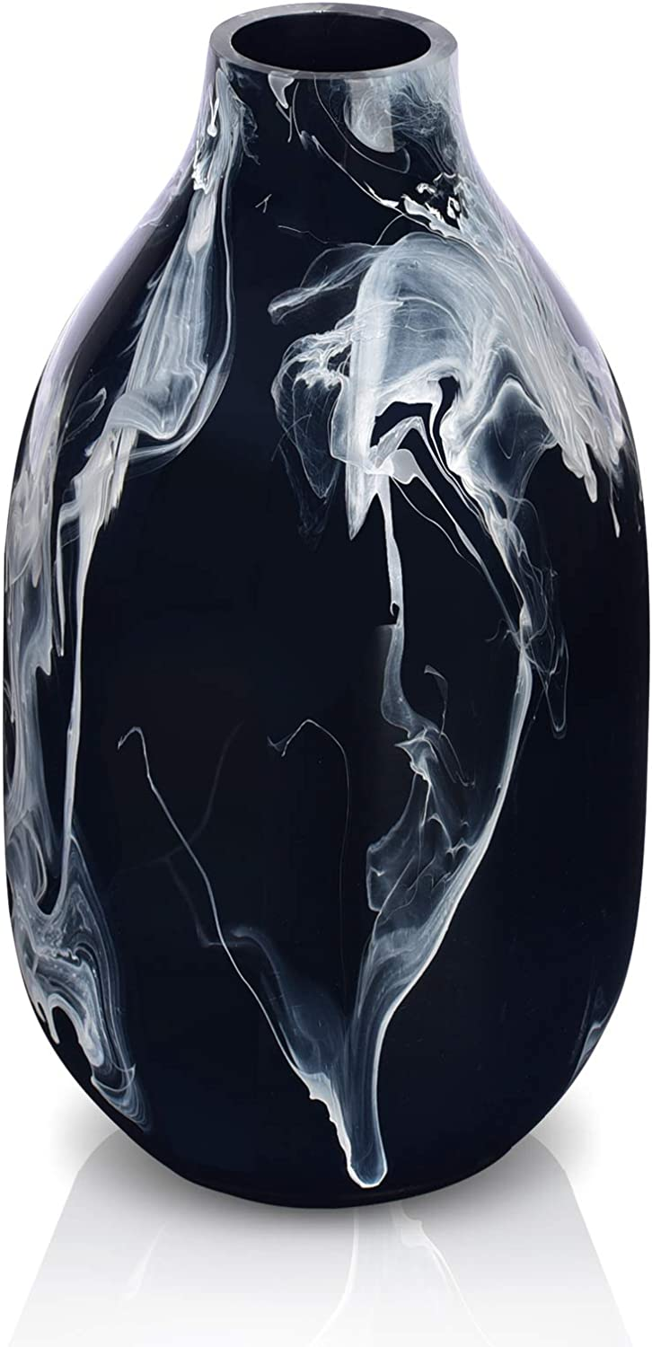 XinRui18 Modern Flower Vase, Resin Vase for Home Decor, Bar, Centerpieces, Office, Ideal Gift Choice (Black)