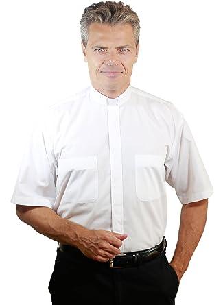 32ad7528b1a Stadelmeier Mens Short Sleeve Tab Collar Clergy Shirt White at Amazon Men s  Clothing store