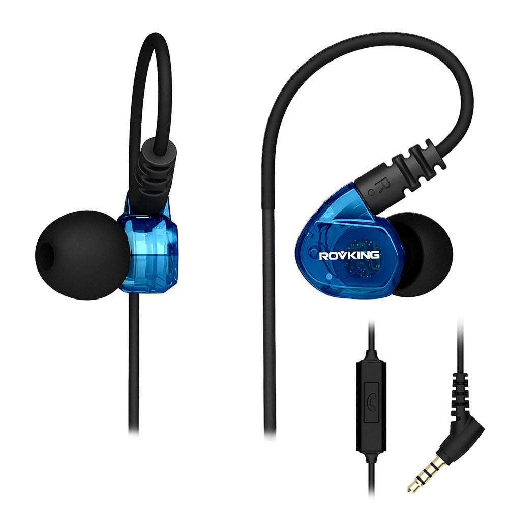 ROVKING Running Headphones Over Ear In Ear Noise Isolating Sweatproof Sport Earbuds Earphones with Remote and Mic Earhook Wired Stereo Workout Ear Buds for Jogging Gym, Cell Phones Headset Blue