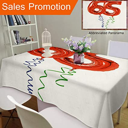 Unique Design Cotton And Linen Blend Tablecloth 65Th Birthday Decorations Balloons Age Sixty Five Joyous