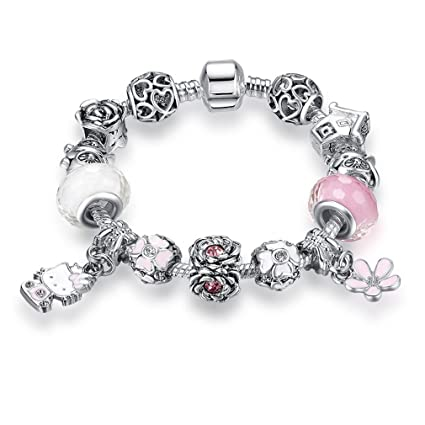 02c25ed0682c2 Amazon.com: MIADEAL Hello Kitty Charms Bracelet, Pink, Pandora ...
