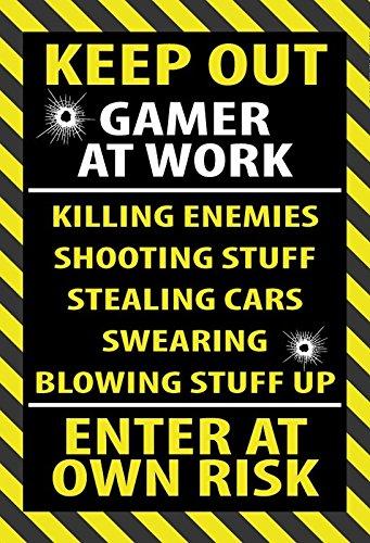 Cartel de Chapa genérica 20 x 30 cm Keep out Gamer at Work ...