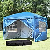 best patio tent gazebo 10 x 10 ft Outdoor Party Tent Portable Carrying Case/Bag Easy EZ Pop Up Canopy with Removable Sidewalls Gazebo Pavilion Wedding Patio Shelter UV Resistant Commercial Instant Impact Canopies (Blue)