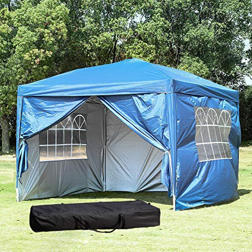 10 x 10 ft Outdoor Party Tent Portable Carrying Case/Bag Easy EZ Pop Up Canopy with Removable Si ...