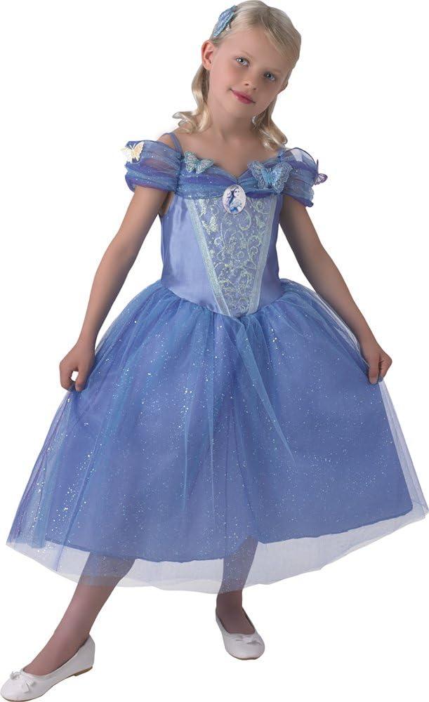 Princesas Disney - Disfraz de Cenicienta con zapatos para niña, talla 5-6 años (Rubie's 620393-M)