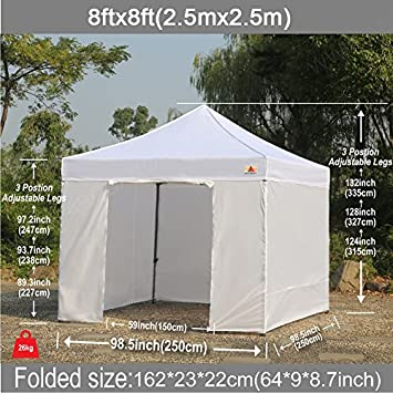ABCCANOPY 8 x 8 Ez Pop-up Canopy Tent Commercial Instant Tent with 4 Removable SideWalls and Roller Bag,Bonus 4 SandBags