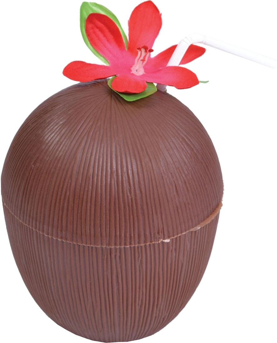 Tropical Hawaiian Hula Summer Beach Party Coconut Cup Flower + Straw One Size