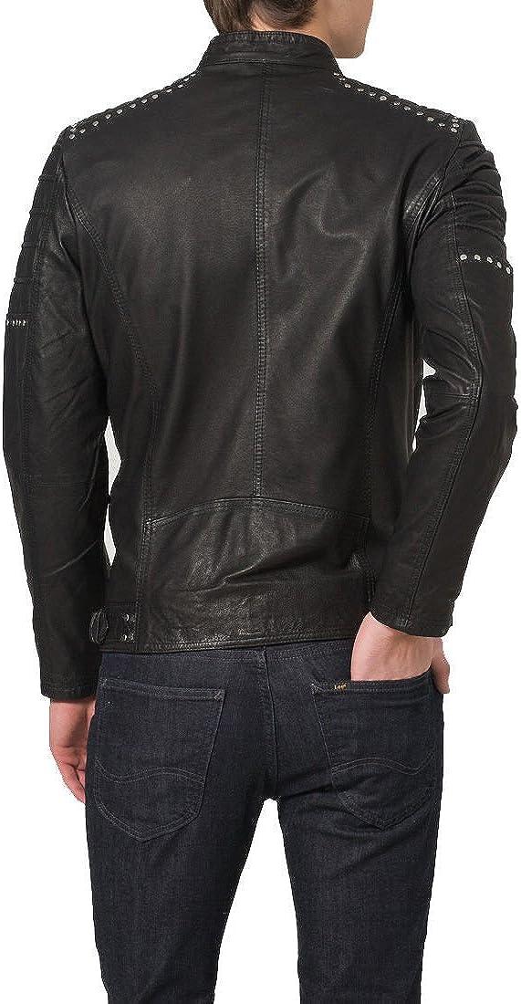 Mens Genuine Cow Leather Jacket Slim fit Motorcycle Jacket LFC098 L
