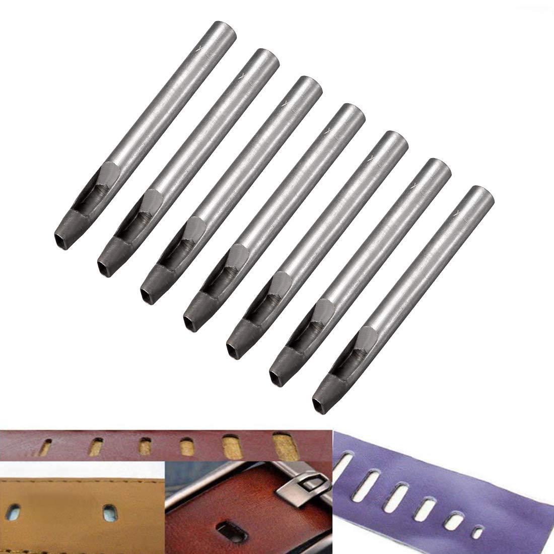 sourcing map Perforador ovalado de acero para perforar/cuero artesanal de 9,5 mm x 3,8 mm para cintur/ón de cuero