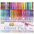 Shuttle Art 40 Colors Glitter Gel Pens,Glitter Gel Pen Set for Adult Coloring Books Craft Doodling from Shuttle Art