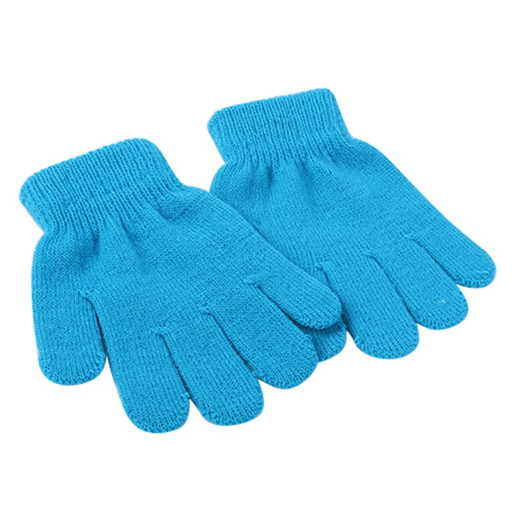 XY Fancy Children Toddler Warm Solid Color Winter Spring Knit Magic Gloves For 3-13 Years Green LJ#YR-B5CY-QNDF
