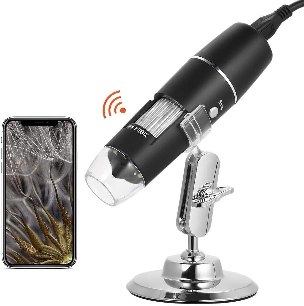 Yadianna WiFi Chargeable Digital Microscope 1000X Zoom Magnifier Camera with 8 Led Stand for iOS Android