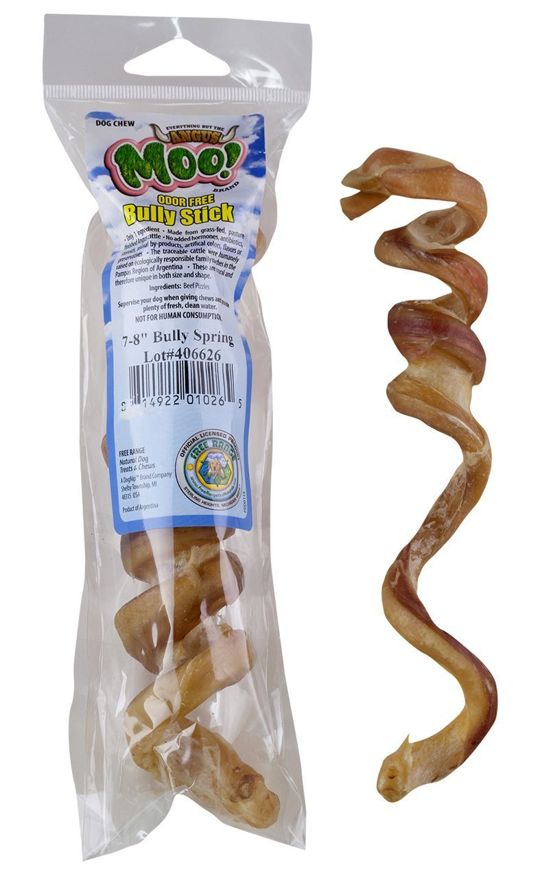 (25) 7-8'' Bully Sticks Springs - Free Range Moo! - Odor Free!! by Free Raised Pet Products