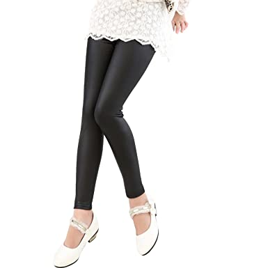 dc47c7a64f238 Amazon.com: Tulucky Girls Stretchy Faux Leather Legging Teens Pants ...