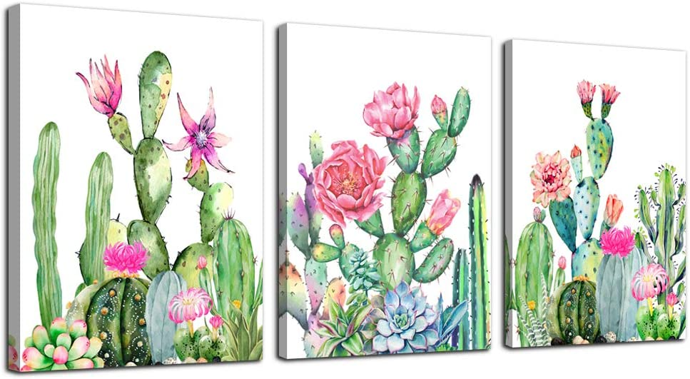 """Canvas Wall Art for living room bathroom Wall Decor for bedroom kitchen artwork Canvas Prints green cactus flowers painting 12"""" x 16"""" 3 Pieces Modern framed office Home decorations family picture"""