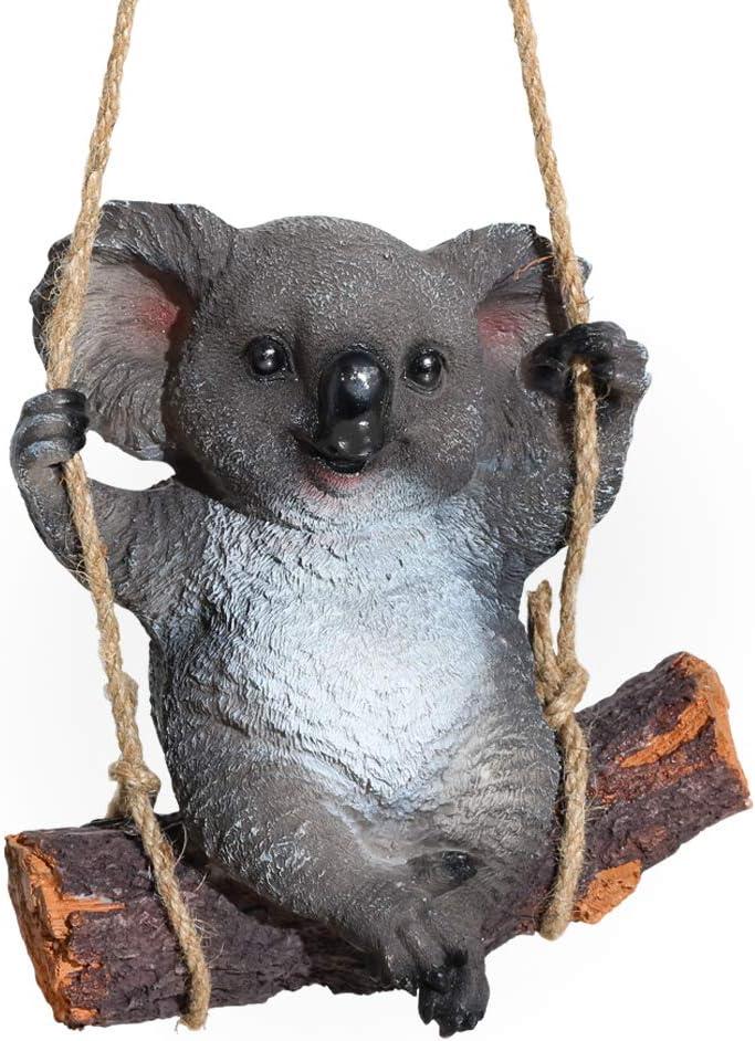 Animal Garden Statues, Koala Bear Swing Garden Figurines for Outdoor Home Yard Garden Lawn Porch Decor