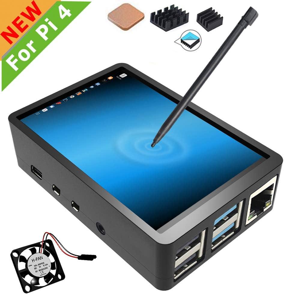 para Pantalla táctil Raspberry Pi 4 con Estuche, Pantalla táctil de 3.5 Pulgadas con Ventilador, Pantalla de Juego LCD TFT de Monitor 320x480
