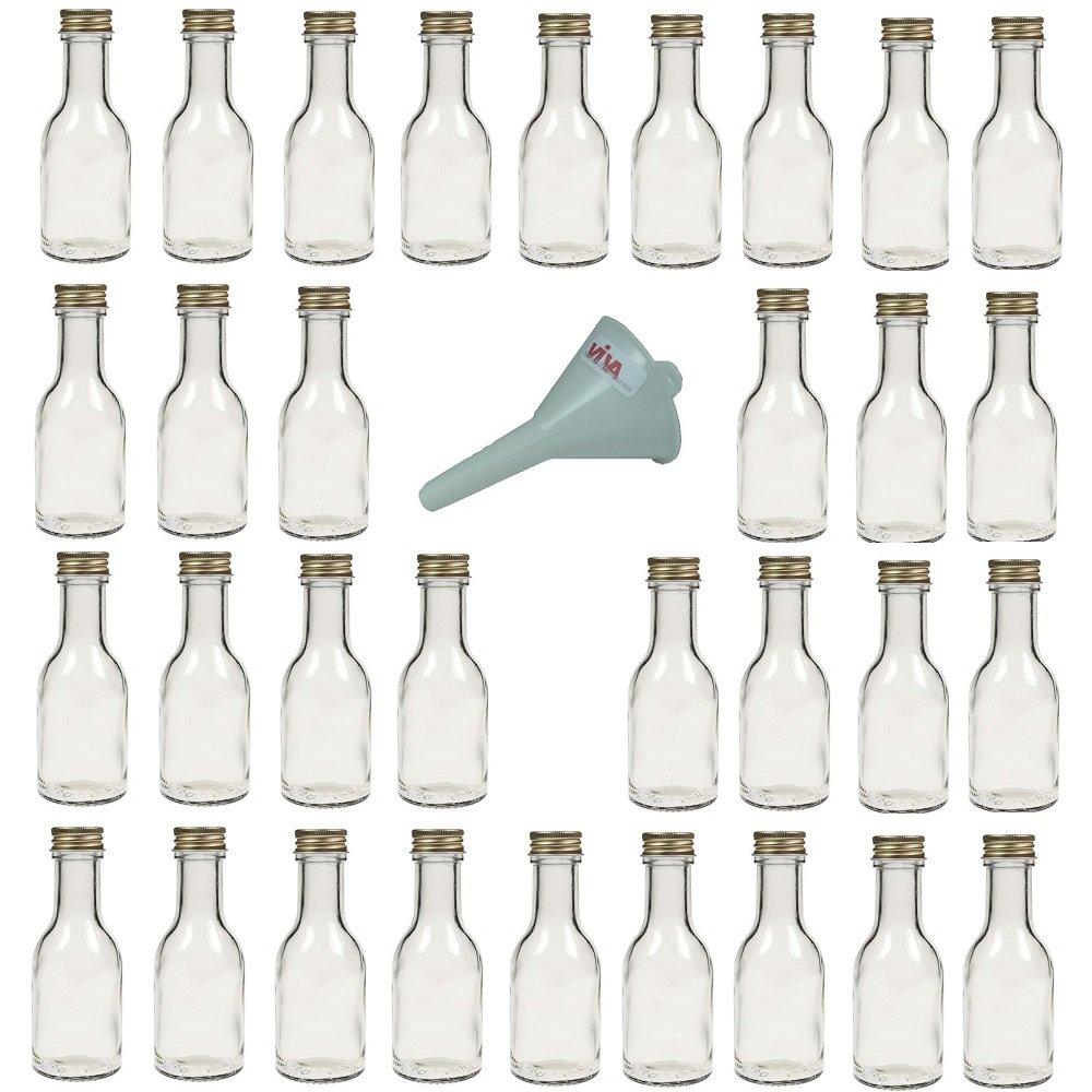Viva Haushaltswaren - 14 bottiglie in vetro vuote con tappo a vite da riempire autonomamente, capacità 100 ml, imbuto bianco con diametro da 5 cm incluso capacità 100 ml #26366#