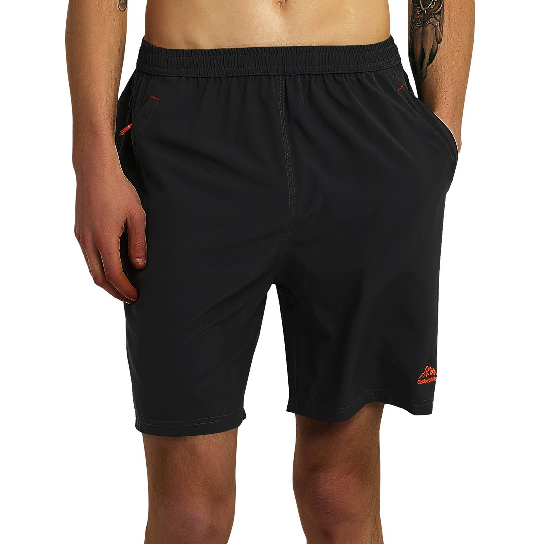 SuperArt Men\'s Gym Shorts Outdoor Sports Running Beach Shorts Lightweight Quick Dry Shorts Reflective with Zipper Pockets (Style 3 Black, Medium)