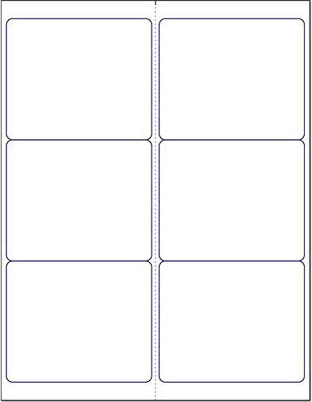 """Blank White Permanent Adhesive Labels for Laser/Ink Jet Printer (4"""" x 3-1/3"""" - 6 Per Page 
