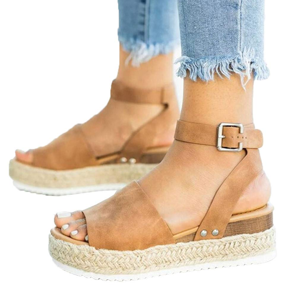 REYO Fashion Womens Ankle Strap Wedge Sandals Comfort Casual Platform Closed Toe Footbed Thick-Bottom Shoes